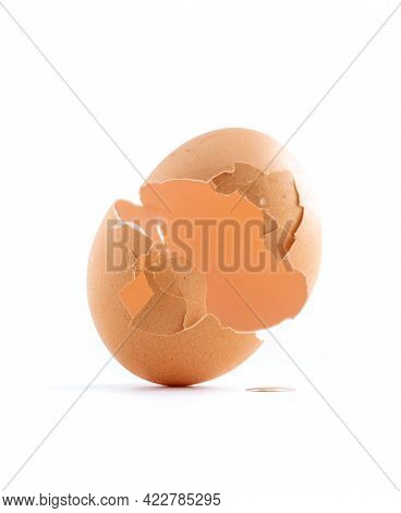 Broken Eggshell Like A New Birth Isolated On White Background, Regeneration Concept