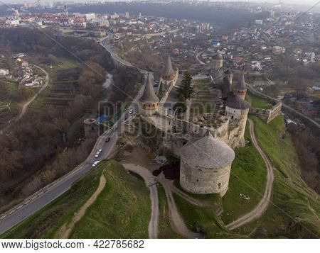 Aerial View Of Fortress Castle At Sunrise In Historic City Of Kamianets-podilskyi, Ukraine