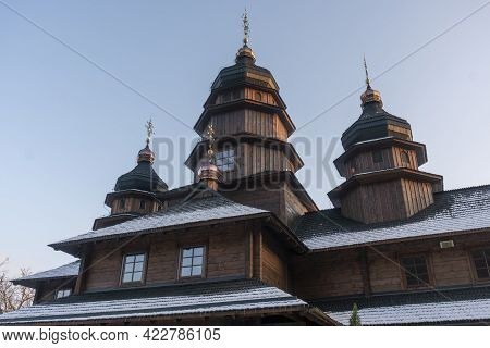 Old Wooden Building Of The Holy Prophet Elijah Monastery In The Carpathian Village Of Yaremche In Uk