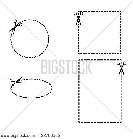 Scissor Cut Line Icon On White Background. Set Of Coupon Borders. Set Of Scissors And Coupon Sign. F