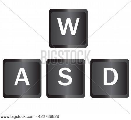 Wasd Keyboard Gaming Buttons. Wasd Computer Keyboard Sign. Gaming And Cybersport Symbol. Flat Style.