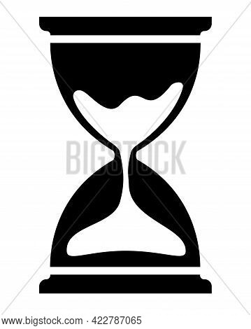 Hourglass - Black Vector Silhouette For Logo Or Pictogram. Hourglass - Icon Or Sign For Identity. Si