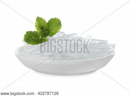 Menthol Crystals And Fresh Mint Leaves In Bowl On White Background