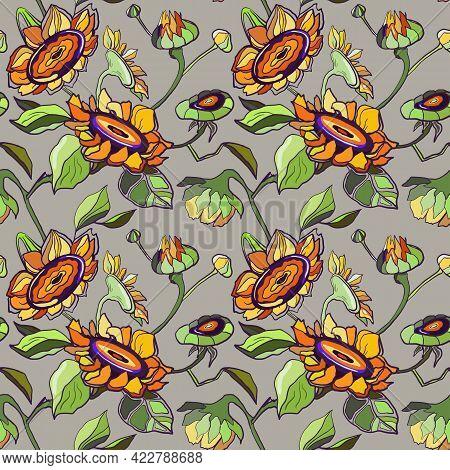Sunflower Vector Illustration. Hand Drawn Sunflowers Seamless Pattern On Grey, Beige Background. Aut