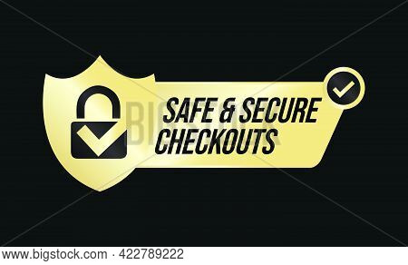 Safe And Secure Checkout Vector Icon With Padlock And Tick Mark, Secure Shopping Abstract