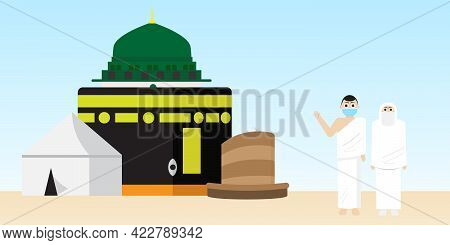 A Vector Of Hajj Places Need To Visit Kaaba, Arafah Tent, Nabawi Mosque And Mina Jamrah With Pilgrim