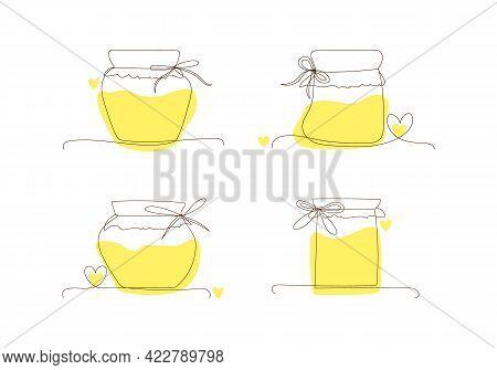 Set Line Art Glass Canning Jars For Honey, Autumn And Winter Preservation. Sketch, Doodle, Outline S