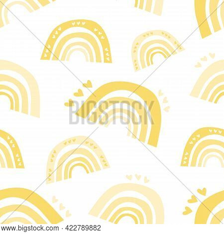 Summer Seamless Pattern Of Yellow Rainbows With Hearts. Scandinavian Boho Style, Children's Print, P