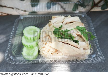 Chicken And Rice ,chicken Rice Or Chinese Chicken Rice In The Box