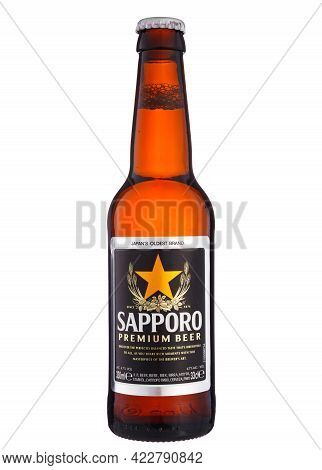 Bottle Of Sapporo Premium Beer. Japan's Oldest Brand. The Most Popular Japanese Beers Imported Into