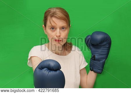 Young Beautiful Woman With Boxer Gloves Leading Healthy Life With Exercising