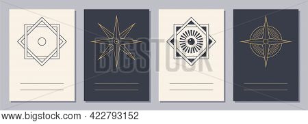 Set Of Flyers, Posters, Placards, Brochure Design Templates A6 Size With Geometric Icons. Star Shape