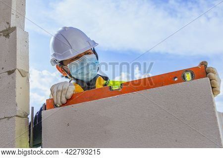 House Construction  Building Site With Lightweight Bricks.