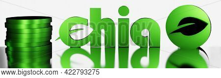 Green Chia Coin Logo With Reflection On White Background. Chia Eco Crypto Currency. 3d Rendering. Ba