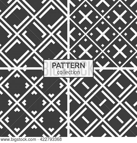 Set Of Four Seamless Rhombuses Patterns With Bold Lines. Repeating Ornaments. Geometric Stylish Back