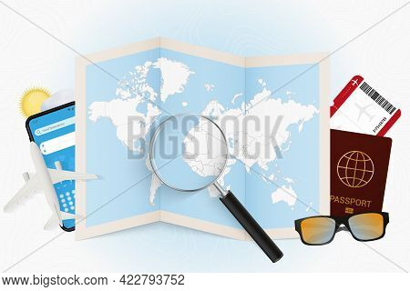 Travel Destination Senegal, Tourism Mockup With Travel Equipment And World Map With Magnifying Glass