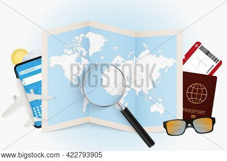Travel Destination Guinea-bissau, Tourism Mockup With Travel Equipment And World Map With Magnifying