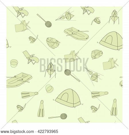 Pattern With Elements For Traveling, Camping, Hiking. Seamless Pattern For Screen Saver, Design, Pos