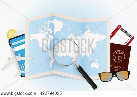 Travel Destination Togo, Tourism Mockup With Travel Equipment And World Map With Magnifying Glass On