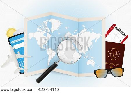 Travel Destination Sudan, Tourism Mockup With Travel Equipment And World Map With Magnifying Glass O