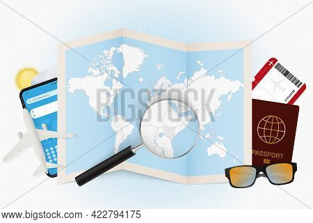 Travel Destination Kenya, Tourism Mockup With Travel Equipment And World Map With Magnifying Glass O