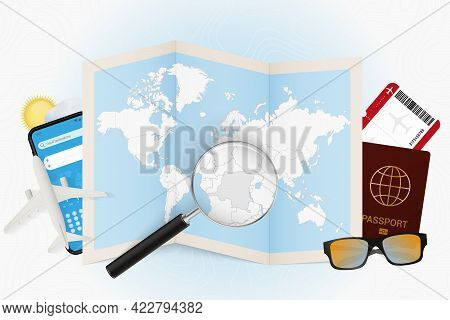 Travel Destination Dr Congo, Tourism Mockup With Travel Equipment And World Map With Magnifying Glas
