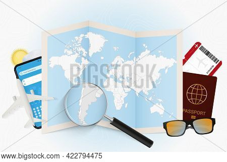 Travel Destination Argentina, Tourism Mockup With Travel Equipment And World Map With Magnifying Gla
