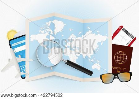 Travel Destination Ecuador, Tourism Mockup With Travel Equipment And World Map With Magnifying Glass