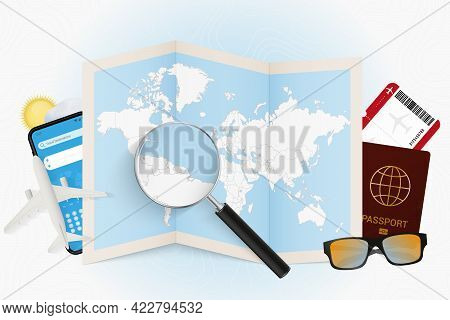 Travel Destination Suriname, Tourism Mockup With Travel Equipment And World Map With Magnifying Glas