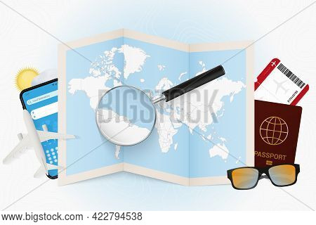 Travel Destination French Guiana, Tourism Mockup With Travel Equipment And World Map With Magnifying