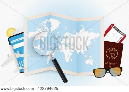 Travel Destination Cuba, Tourism Mockup With Travel Equipment And World Map With Magnifying Glass On