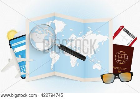 Travel Destination Canada, Tourism Mockup With Travel Equipment And World Map With Magnifying Glass
