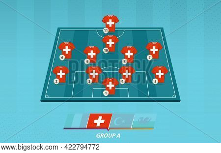 Football Field With Switzerland Team Lineup For European Competition. Soccer Players On Half Footbal