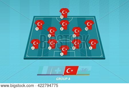 Football Field With Turkey Team Lineup For European Competition. Soccer Players On Half Football Fie
