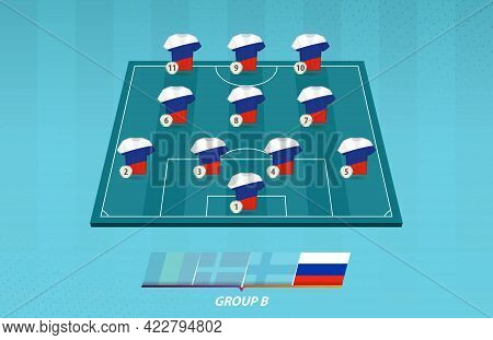Football Field With Russia Team Lineup For European Competition. Soccer Players On Half Football Fie