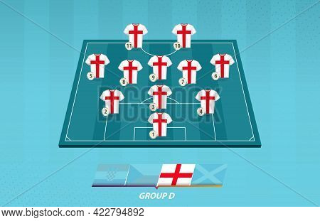 Football Field With England Team Lineup For European Competition. Soccer Players On Half Football Fi