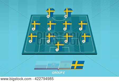 Football Field With Sweden Team Lineup For European Competition. Soccer Players On Half Football Fie