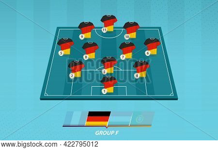 Football Field With Germany Team Lineup For European Competition. Soccer Players On Half Football Fi