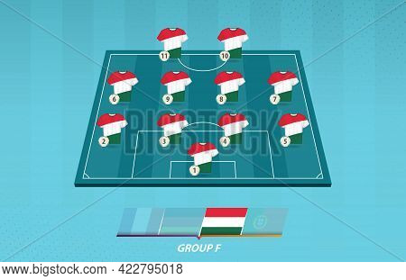 Football Field With Hungary Team Lineup For European Competition. Soccer Players On Half Football Fi