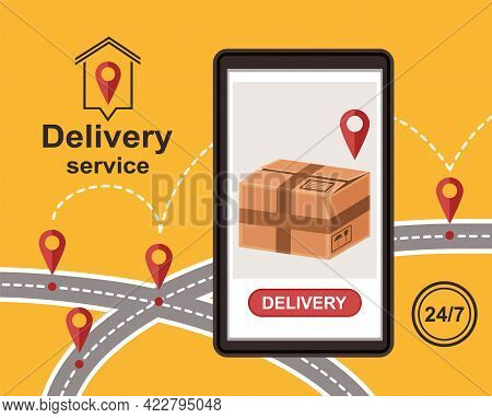 Online Express Delivery Service. Order Tracking. Cardboard Parcel Box On Smartphone Screen. Shopping