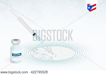 Covid-19 Vaccination In Puerto Rico, Coronavirus Vaccination Illustration With Vaccine Bottle And Sy