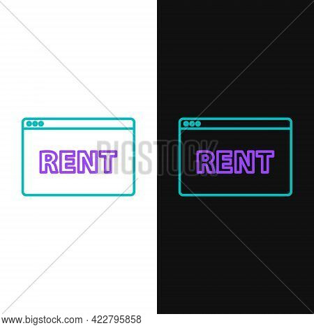 Line Hanging Sign With Text Online Rent Icon Isolated On White And Black Background. Signboard With