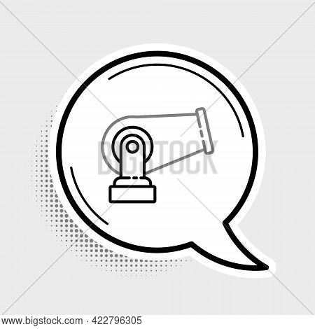 Line Cannon Icon Isolated On Grey Background. Colorful Outline Concept. Vector