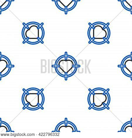 Line Heart In The Center Of Darts Target Aim Icon Isolated Seamless Pattern On White Background. Int