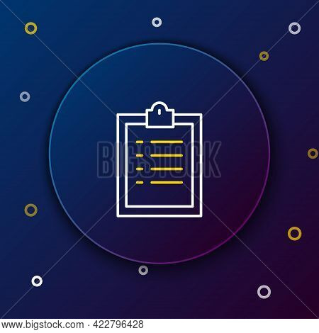 Line Clipboard With Checklist Icon Isolated On Blue Background. Control List Symbol. Survey Poll Or