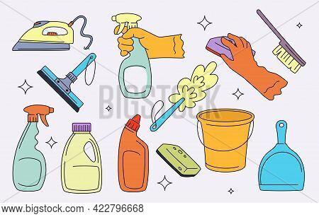 Household Supplies Vectors Set. Clothes Iron, Spray Bottles, Dust Brush, Bucket, Scoop, Gloves, Glas