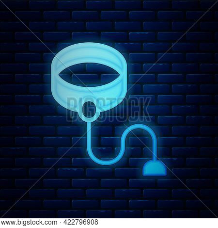 Glowing Neon Retractable Cord Leash With Carabiner Icon Isolated On Brick Wall Background. Pet Dog L