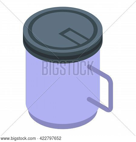 Tea Thermo Cup Icon. Isometric Of Tea Thermo Cup Vector Icon For Web Design Isolated On White Backgr