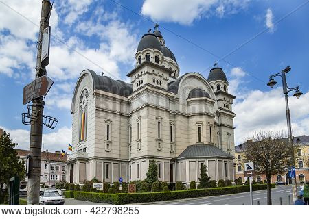 Targu Mures, Transylvania, Romania - April 23, 2021:  Ascension Of The Lord, Orthodox Cathedral At C