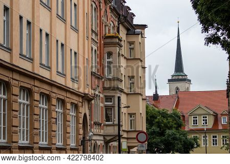 Street In Erfurt, Thuringia With Historic House Facades
